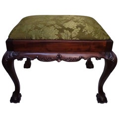 English Mahogany Bench or Stool with Claw and Ball Feet