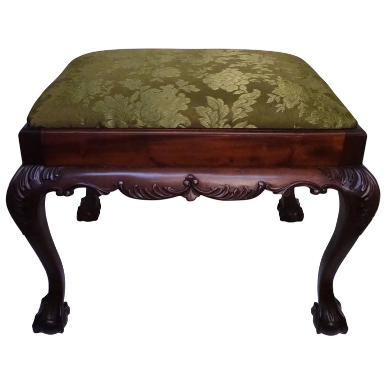 English Mahogany Bench or Stool with Claw and Ball Feet For Sale
