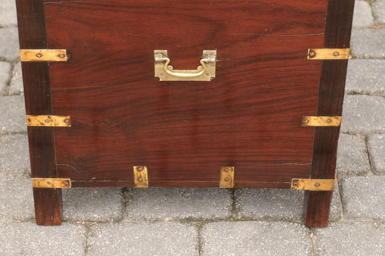English Mahogany Brass-Bound Campaign Trunk with Lateral Handles, circa 1870 For Sale 6