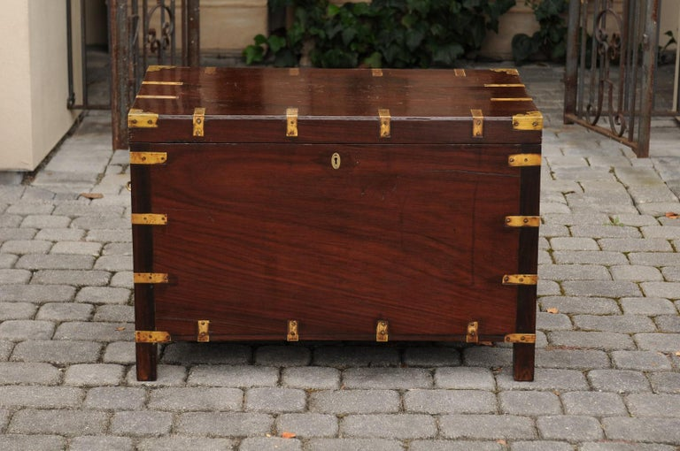 English Mahogany Brass-Bound Campaign Trunk with Lateral Handles, circa 1870 For Sale 8