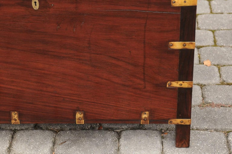 English Mahogany Brass-Bound Campaign Trunk with Lateral Handles, circa 1870 For Sale 11
