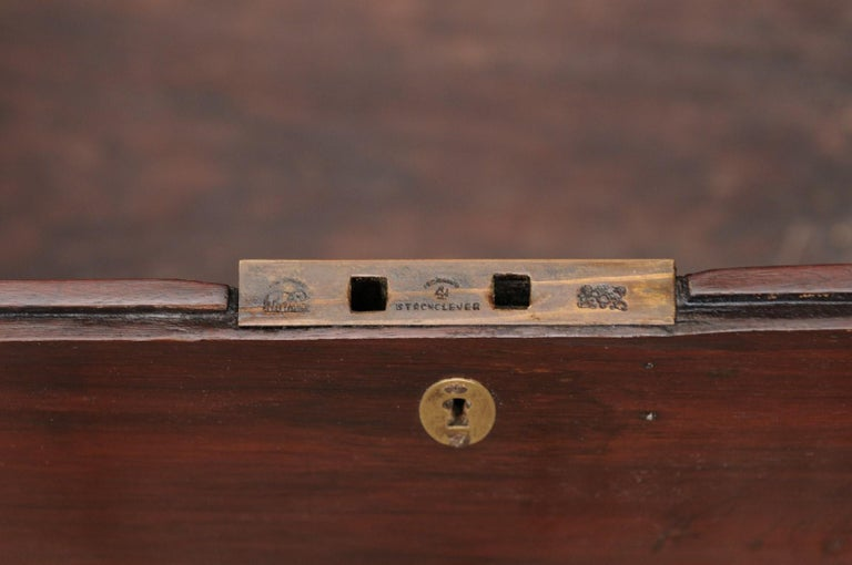 English Mahogany Brass-Bound Campaign Trunk with Lateral Handles, circa 1870 For Sale 1
