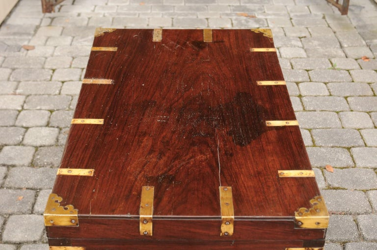 English Mahogany Brass-Bound Campaign Trunk with Lateral Handles, circa 1870 For Sale 5