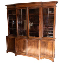 English Mahogany Breakfront Library Bookcase