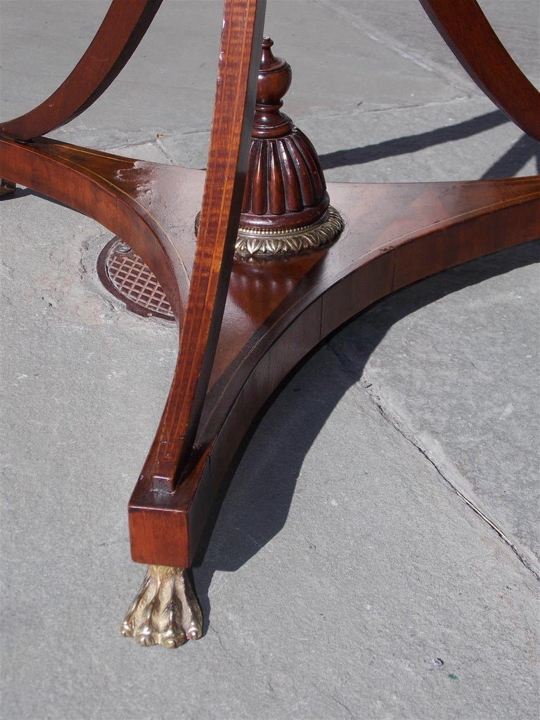English Mahogany Bronze Mounted and Inlaid Lyre Music Stand on Paw Feet. C. 1800 For Sale 3