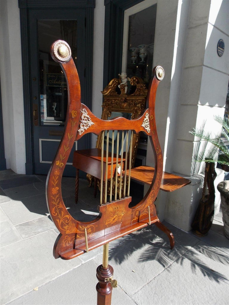 Hand-Carved English Mahogany Bronze Mounted and Inlaid Lyre Music Stand on Paw Feet. C. 1800 For Sale