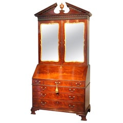 George II English mahogany bureau cabinet bookcase