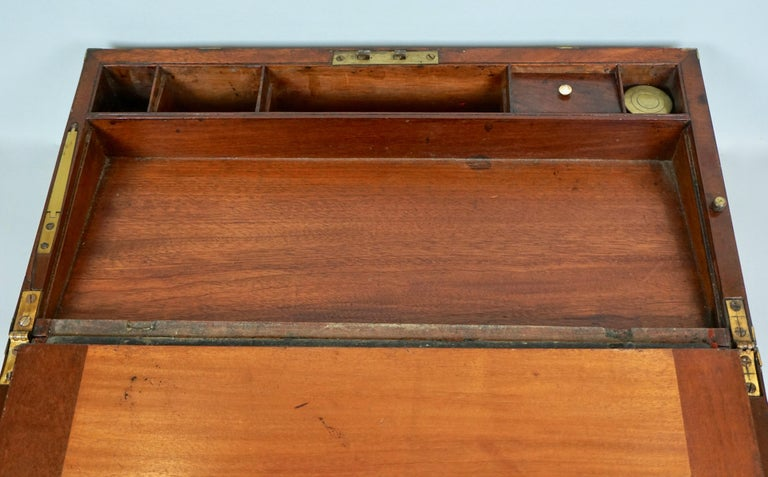 English Mahogany Campaign Style Brass Bound Traveling Desk For Sale 5
