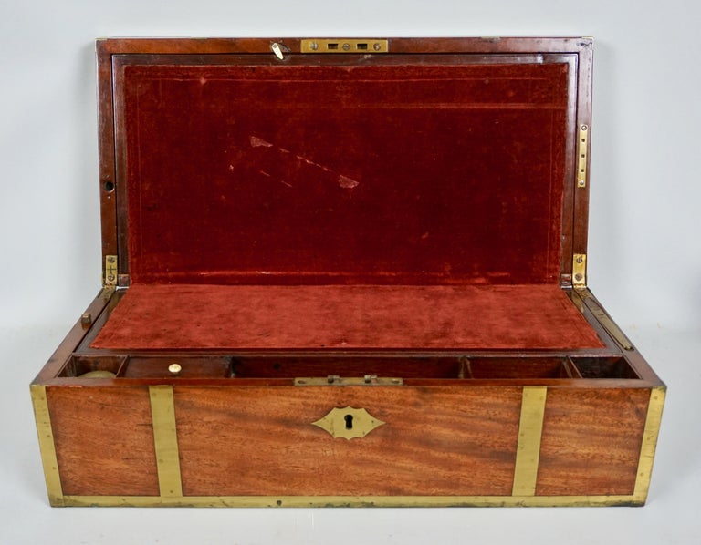 British English Mahogany Campaign Style Brass Bound Traveling Desk For Sale
