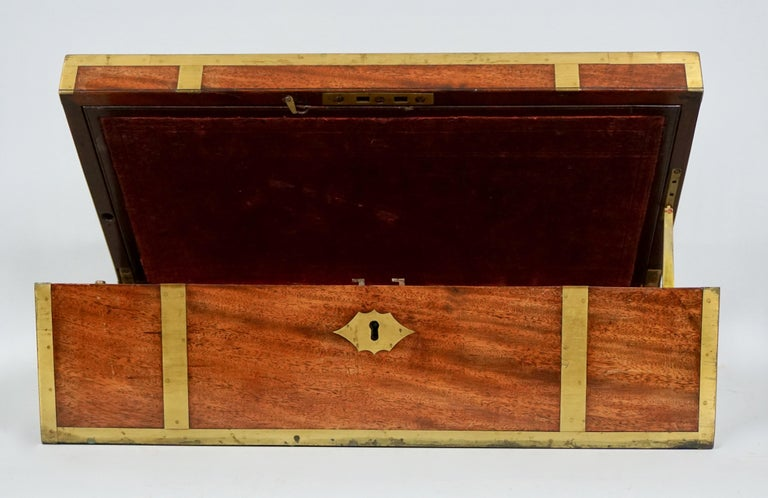 English Mahogany Campaign Style Brass Bound Traveling Desk For Sale 2