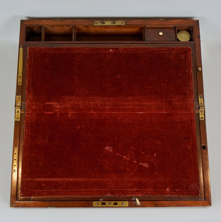 English Mahogany Campaign Style Brass Bound Traveling Desk For Sale 4