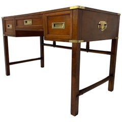 English Mahogany Campaign Style Writing Desk, circa 1960s