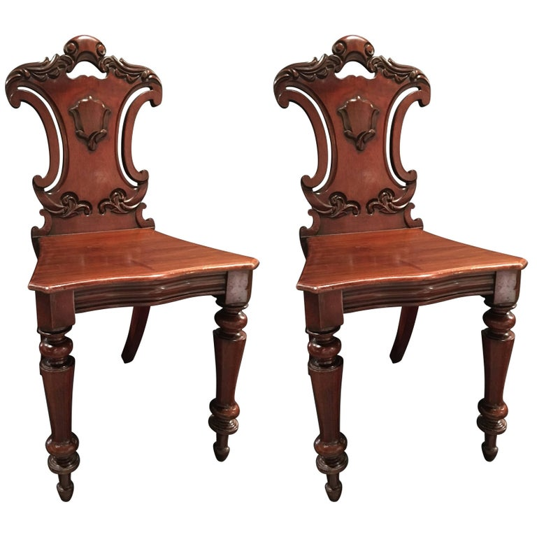 English Mahogany Carved Pair of Hall Chairs, 19th Century