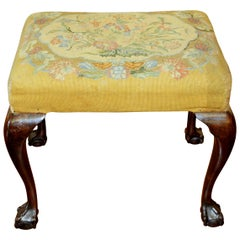 English Mahogany Chippendale Style Bench with Old Needlepoint Upholstery