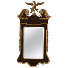 English Mahogany Chippendale Style Mirror with Carved Gold Gilt Eagle