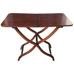 English Mahogany Coaching or Campaign Desk Table, 19th Century
