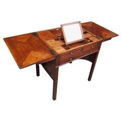 English Mahogany Compartmentalized Lidded Beau Brummel Dressing Table, C. 1790
