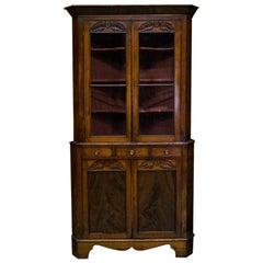 English Mahogany Corner Cupboard