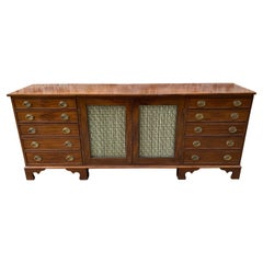 English Mahogany Credenza with Drawer Ends and Wire Work Doors in Middle