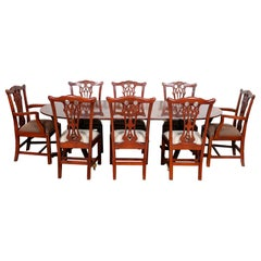 English Mahogany Dining Table and 8 Chairs Hepplewhite Stalker Antique Vintage