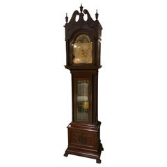 English Mahogany Grandfather Long Case Clock with 5 Chimes and Moon Dial