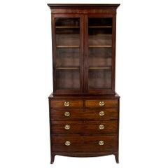 English Mahogany Hepplewhite Step Back Bookcase