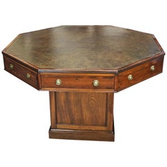 English Mahogany Octagonal Drum Table by C. Hindley & Sons, London
