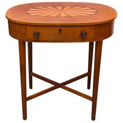 English Mahogany Inlaid Oval Table