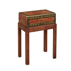 English Mahogany Lap Desk circa 1870 with Gilded Accents and Custom-Made Base