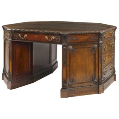 English Mahogany and Leather Octagonal Library Desk