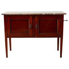 English Mahogany Marble-Top Cabinet or Console Table