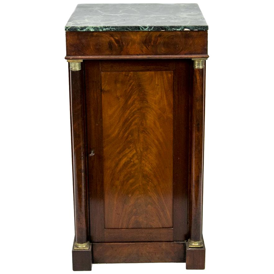 English Mahogany Marble-Top Console Cabinet