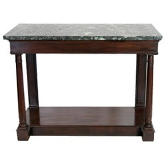 English Mahogany Marble-Top Console Table