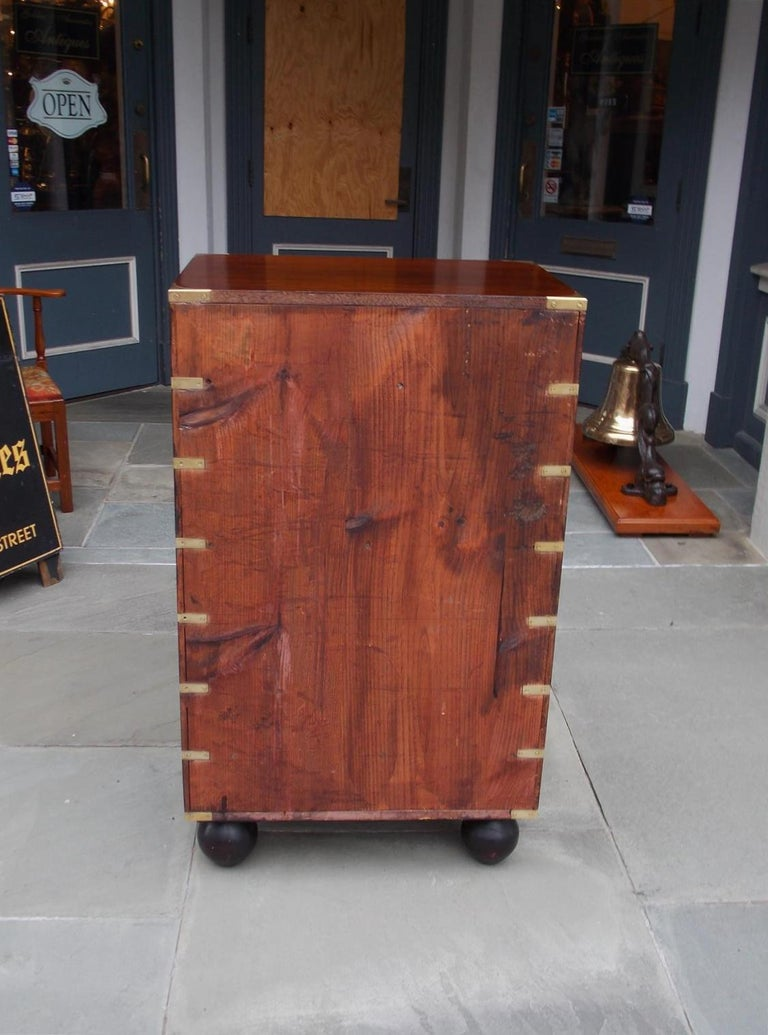 English Mahogany Military Campaign Tall Chest with Recessed Brasses, Circa 1870 For Sale 5