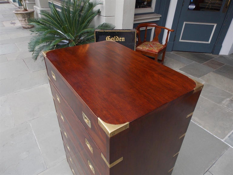 English Mahogany Military Campaign Tall Chest with Recessed Brasses, Circa 1870 In Excellent Condition For Sale In Charleston, SC