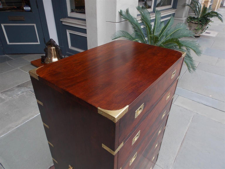 Late 19th Century English Mahogany Military Campaign Tall Chest with Recessed Brasses, Circa 1870 For Sale