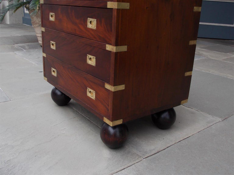 English Mahogany Military Campaign Tall Chest with Recessed Brasses, Circa 1870 For Sale 1