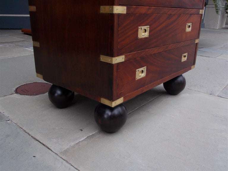 English Mahogany Military Campaign Tall Chest with Recessed Brasses, Circa 1870 For Sale 2