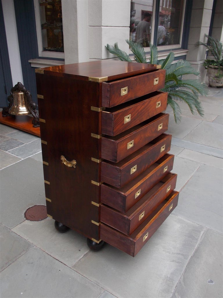 English Mahogany Military Campaign Tall Chest with Recessed Brasses, Circa 1870 For Sale 3