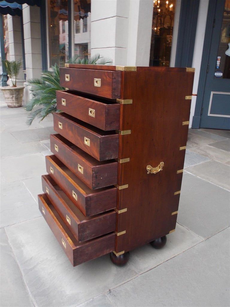 English Mahogany Military Campaign Tall Chest with Recessed Brasses, Circa 1870 For Sale 4