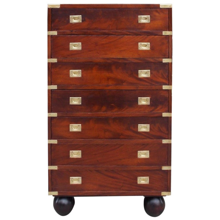 English Mahogany Military Campaign Tall Chest with Recessed Brasses, Circa 1870 For Sale