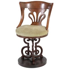 English Mahogany Nautical Captains Swivel Chair with Cast Iron Base, 1880s