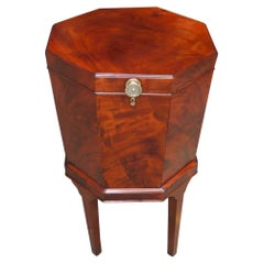 English Mahogany Octagon Wine Cellarette on Stand with Orig. Lead Liner, C. 1780