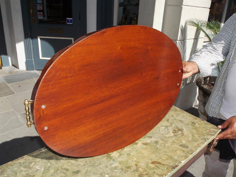 English Mahogany Oval Inlaid Serving Tray with Brass Side Handles. Circa 1810 In Good Condition For Sale In Charleston, SC