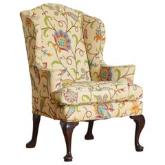English Mahogany Queen Anne Style Crewel Work Upholstered Wingchair, ca. 1900