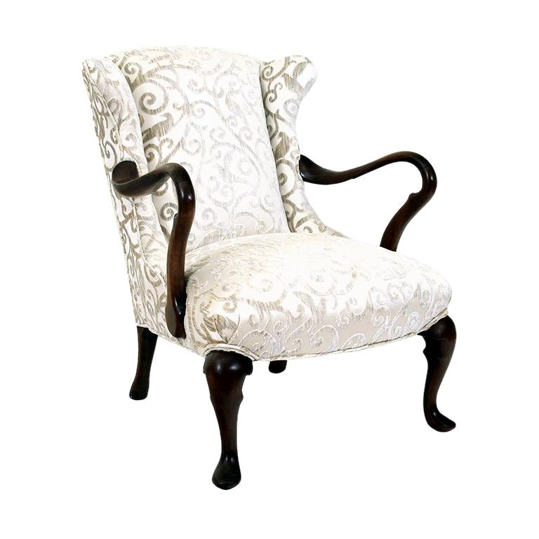 English Mahogany Queen Anne Style Open Armchair For Sale