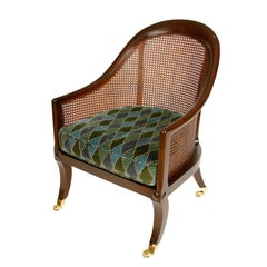 English Mahogany Regency Caned Tub Chair