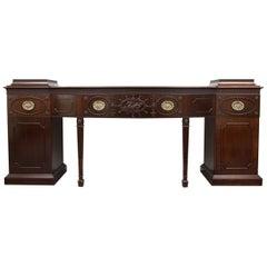 English Mahogany Regency Style Bowfront Pedestal Sideboard