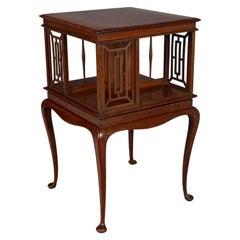 English Mahogany Rotating Bookcase Side Table