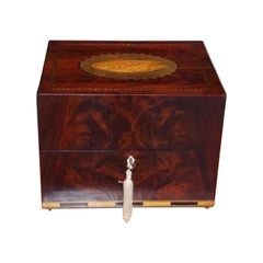 English Mahogany Satinwood Inlaid Spirit Box with Orig. Fitted Interior, C. 1780